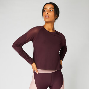 Metallic Long Sleeve Top — Dark Red