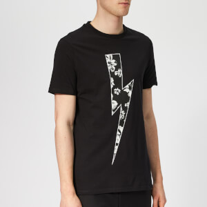 Neil Barrett Men's Floral Thunderbolt T-Shirt - Black/White/Sepia