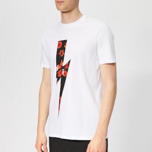Neil Barrett Men's Floral Thunderbolt T-Shirt - White/Red