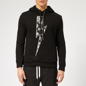 Neil Barrett Men's Floral Thunderbolt Hoodie - Black/Black/White