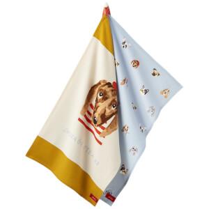 Joules Dog Print 2 Pack Tea Towels