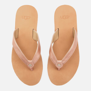 UGG Women's Tawney Metallic Flip Flops - Rose Gold