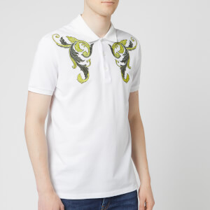 Versace Collection Men's Emboidered Polo Shirt - White