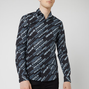 Versace Collection Men's All Over Neon Print Shirt - Black