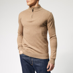 Joules Men's Hillside 1/4 Zip Knit - Camel Marl