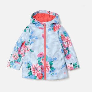 Joules Girl's Raindance Waterproof Coat - Sky Blue Stripe Floral
