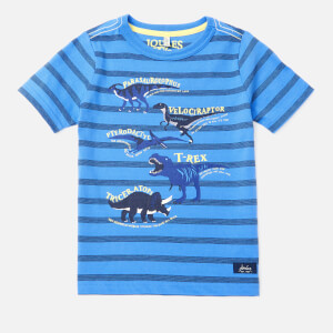Joules Boy's Ben Printed T-Shirt - Blue Stripe Dino