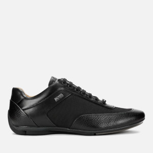 BOSS Men's Racing Leather Low Profile Trainers - Black
