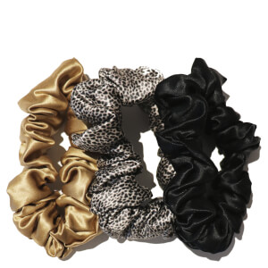 Slip Silk Large Scrunchies - Leopard/Gold/Black (Pack of 3)