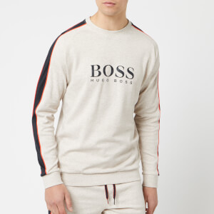 BOSS Hugo Boss Men's Chest Logo Sleeve Stripe Sweatshirt - Grey