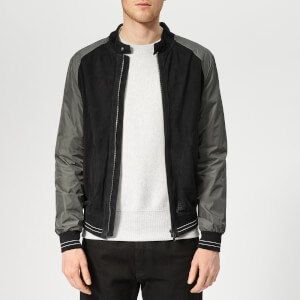 Herno Men's Suede Nylon Bomber - Navy/Grey