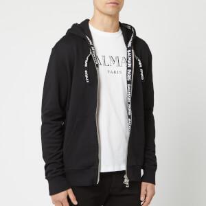 Balmain Men's Zipped Elastic Hoodie - Noir