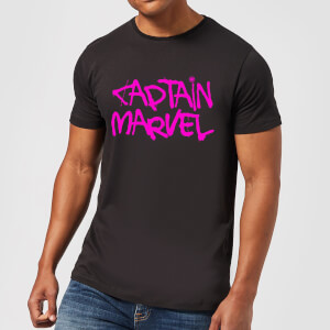 Captain Marvel Spray Text Men's T-Shirt - Black