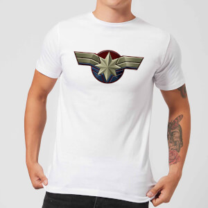 Captain Marvel Chest Emblem Men's T-Shirt - White
