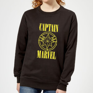 Captain Marvel Grunge Logo Women's Sweatshirt - Black