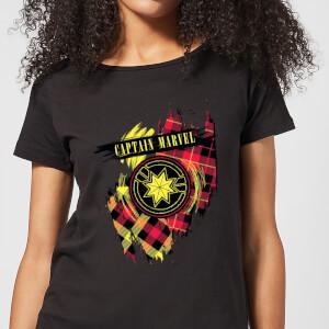 Captain Marvel Tartan Patch Women's T-Shirt - Black