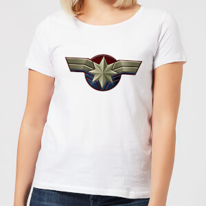 Captain Marvel Chest Emblem Women's T-Shirt - White