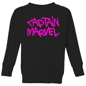 Captain Marvel Spray Text Kids' Sweatshirt - Black