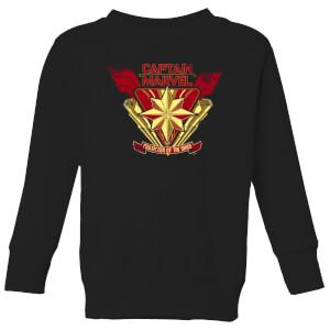 Captain Marvel Protector Of The Skies Kids' Sweatshirt - Black