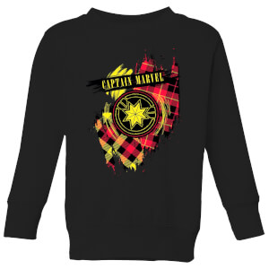 Captain Marvel Tartan Patch Kids' Sweatshirt - Black