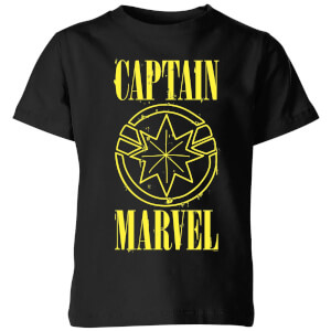 Captain Marvel Grunge Logo Kids' T-Shirt - Black