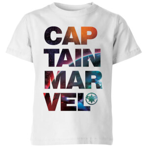 Captain Marvel Space Text Kids' T-Shirt - White