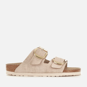 20b3a5e4b9fe Birkenstock Women s Arizona Big Buckle Suede Slim Fit Double Strap Sandals  - Washed Metallic Rose Gold