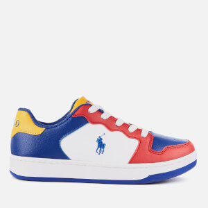 Polo Ralph Lauren Kids' Jessup Leather Trainers - Red/Royal/Yellow