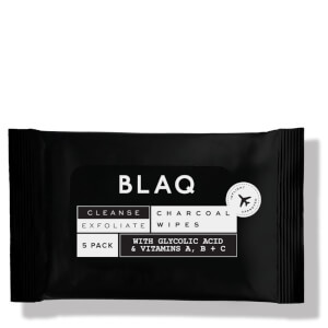 BLAQ Cleanse and Exfoliate Charcoal Wipes with AHA and Glycolic (5 Pack)
