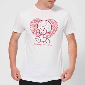 Super Mario Toadally In Love Men's T-Shirt - White