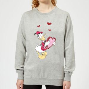 Disney Donald Duck Love Heart Women's Sweatshirt - Grey