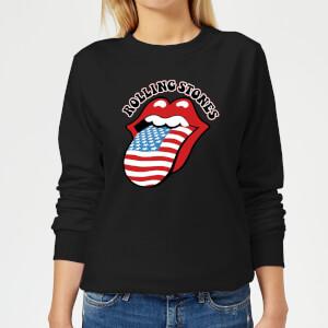 Rolling Stones US Flag Women's Sweatshirt - Black