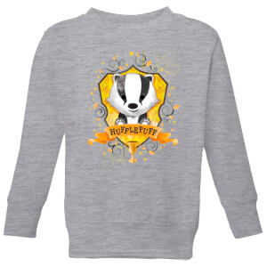 Harry Potter Kids Hufflepuff Crest Kids' Sweatshirt - Grey
