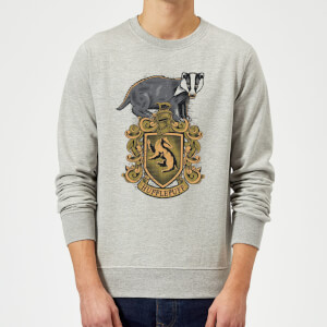 Harry Potter Hufflepuff Drawn Crest Sweatshirt - Grey