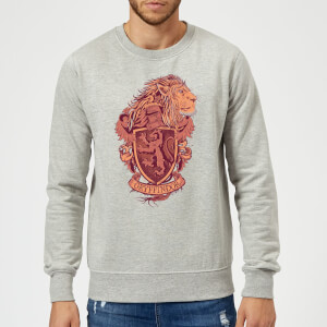 Harry Potter Gryffindor Drawn Crest Sweatshirt - Grey