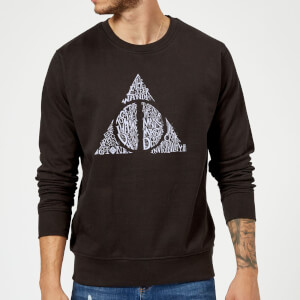Harry Potter Deathly Hallows Text Sweatshirt - Black