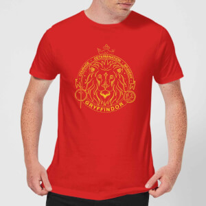 Harry Potter Gryffindor Lion Badge Men's T-Shirt - Red
