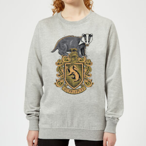 Harry Potter Hufflepuff Drawn Crest Women's Sweatshirt - Grey