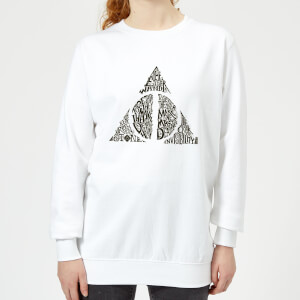 Harry Potter Deathly Hallows Text Women's Sweatshirt - White