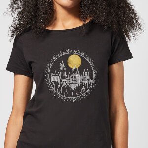 Harry Potter Hogwarts Castle Moon Women's T-Shirt - Black