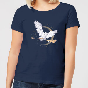 T-Shirt Harry Potter Hedwig Broom - Navy - Donna