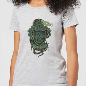 Harry Potter Slytherin Drawn Crest Women's T-Shirt - Grey