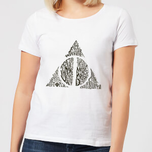 Harry Potter Deathly Hallows Text Women's T-Shirt - White