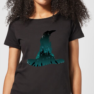 T-Shirt Harry Potter Sorting Hat Silhouette - Nero - Donna