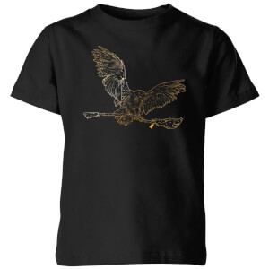Harry Potter Hedwig Broom Gold Kids' T-Shirt - Black