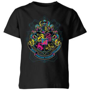 T-Shirt Harry Potter Hogwarts Neon Crest - Nero - Bambini