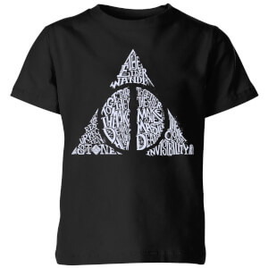 Harry Potter Deathly Hallows Text Kids' T-Shirt - Black