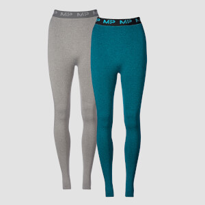 Myprotein Black Friday Two Pack 2.0 Curve Leggings - Grey/Lagoon
