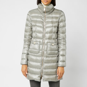 Herno Women's Maria Iconic Long Quilted Fitted Coat - Inox