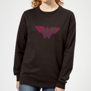 Justice League Wonder Woman Retro Grid Logo Women's Sweatshirt - Black
